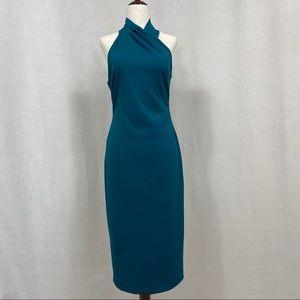 NWOT Rachael Roy Crepe Halter Midi Dress